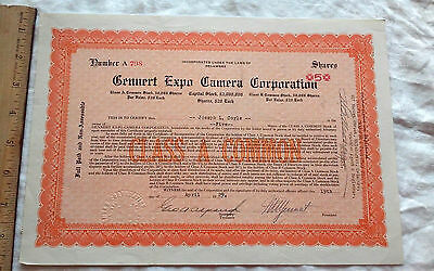 Historic litho 1929 stock certificate Gennert Expo Camera Corporation Delaware