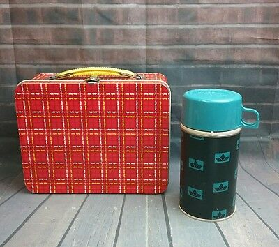 ANTIQUE VINTAGE 1960s Red/Yellow Plaid Metal SCHOOL LUNCH BOX & THERMOS SET