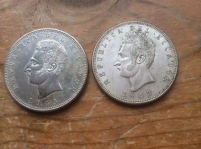 Lot of 2 1943  Ecuador silver 5 Sucres @@ higher grades must see @@