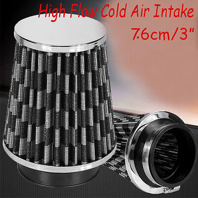 "76mm 3"" Black Truck Long Performance High Flow Cold Air Intake Cone Dry Filter"