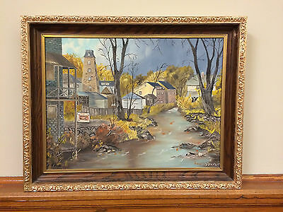 *** Vintage Folk Art Oil Painting * Small Town Morning * Signed By Artist ***
