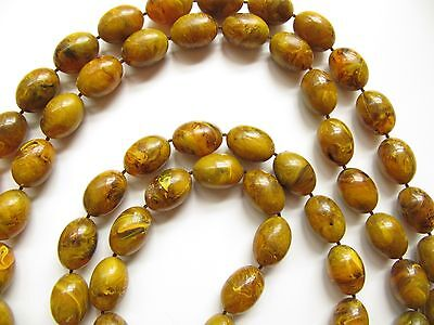 """Vintage Lucite Marbled Yellow Amber Mississippi Mud Oval Bead Necklace 60"""""""