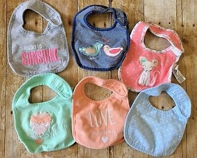 Carter's Baby Girls' 6 Pack Teething Bibs Set One Size Multicolor