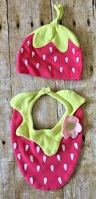 Koala Baby Girls' Bib and Hat Set One Size Pink Lime Strawberry