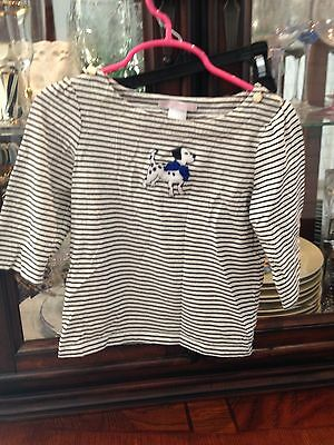EUC - Janie and Jack Black and White striped Puppy shirt Size 4