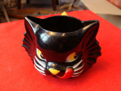 Vintage Plastic Cat licking his chops mug cup childs unmarked cool