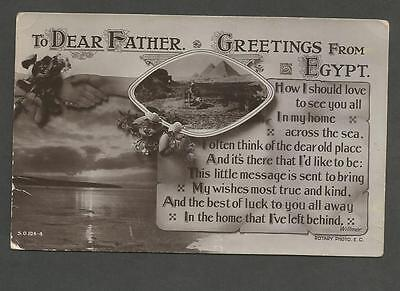 "Vintage Rp Postcard Ww1 Era ""to Dear Father Greetings From Egypt"""