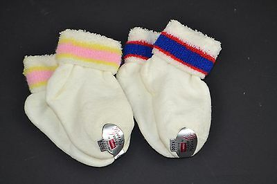 Vtg Lot of 2prs Hanes Beverly Jane FUZZY TERRY Striped Cuff Toddler Ankle Socks