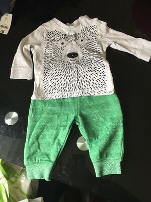 Boys F&F Teddy Bear Joggers And Top Set 0-3 Months