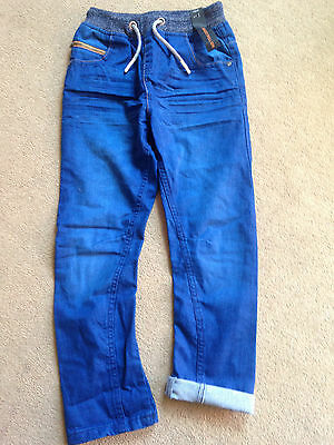 BNWT NEXT Boys Dark Blue Rib Waist Pull On Jeans 13 Years 158cm