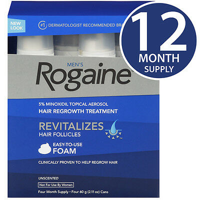Rogaine Hair Regrowth for Men 5% Minoxidil Topical Foam 12 Month Supply - NEW