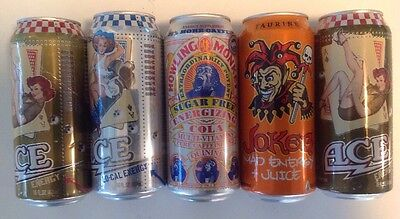 Energy Drink Collectible Can Lot Of 5~Howling Monkey,3- Ace(Pin-Up) & Joker