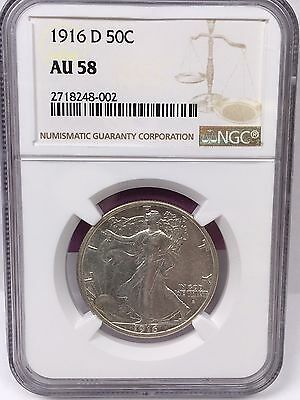 1916-D 50C Walking Liberty Half Dollar NGC AU 58 #5493