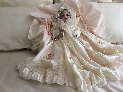 """Hamilton Collection """"Elena"""" Porcelain Doll in Christening Gown & Bassinet, 1993"""