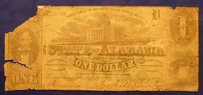 1863 1st Series The State Of Alabama at Montgomery Ala. One Dollar Note No 49356