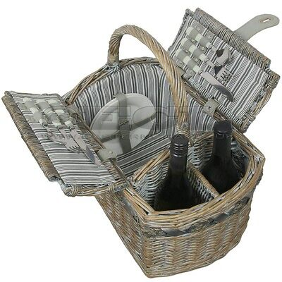 ZQ1-2754 Fashionable, washed wicker picnic basket for 2 People
