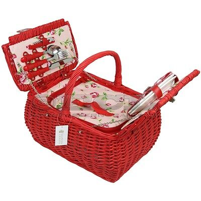 ZQ1-3645 Red Wicker Picnic Basket for 2 People with Cooler