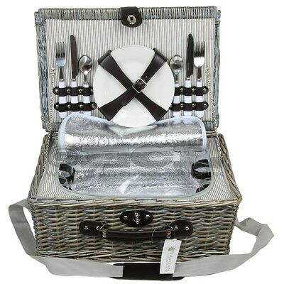 ZQ1-3757 Fashionable, washed wicker picnic basket for 4 people