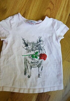 Hanna Andersson Pink Pig Rose T-Shirt Size 90 (3T)