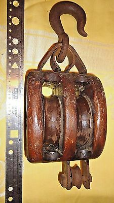 Antique Double Pulley Block and Tackle Wood Cast Iron Large Ship Maritime Boat
