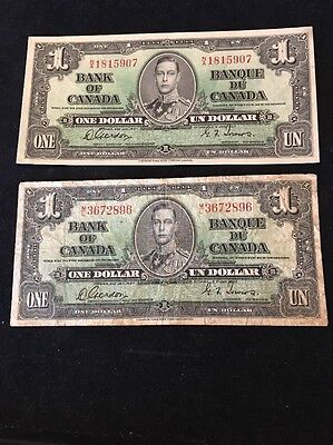 Bank Of Canada 2x $1 Banknotes 1937 Non Sequential Pic58D