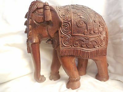 """Large  Carved Ornate Solid Wood Elephant 10-1/2"""" Tall"""