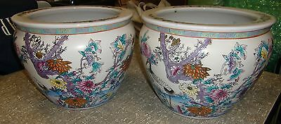 Chinese Painted Large Unmarked Planters (2) Koi Fish Inside, Flowers Outside