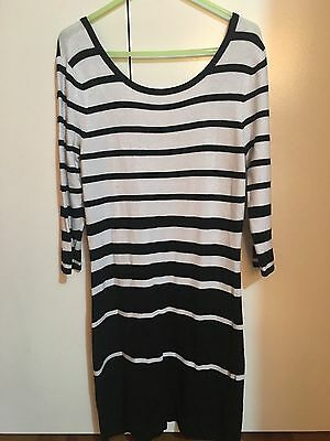 Forever New Black and White Stripe Knit Top - Size XS