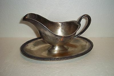 Antique Silver Plated Sauce/gravy Boat With Attached Underplate