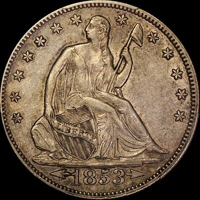 1853 Seated Liberty Half Dollar Pcgs Xf 45 Arrows And Rays