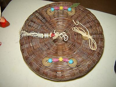 "9"" x 3"" Vintage CHINESE Sewing Basket COINS Multi-Colored Glass Beads GLASS RING"