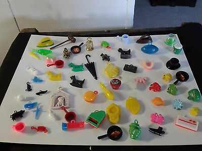 Vintage Lot Of 60 Plastic  Cracker Jack Gumball Charms,toys,prizes