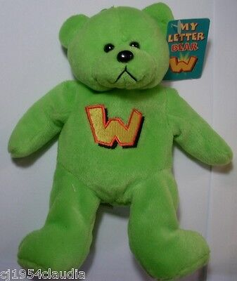"""Gifted Bears By Skansen """"my Letter Bear""""  Letter """"w""""  New (Tag Stain)"""