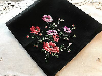 A+ Vintage Black Cotton Mourning? Hankie Swiss Style Embroidery Red Poppies