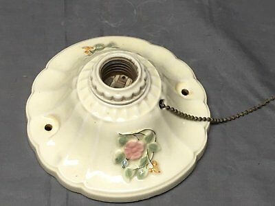 Vtg Flush Mount Porcelain Ceiling Light Shabby Floral Chic Old Sconce 326-17E