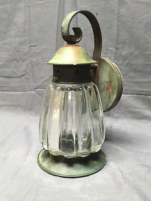 Vintage Brass Porch Sconce Thick Heavy Fluted Glass Globe Old Fixture 327-17E