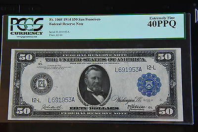 FR 1068 $50 San Franscisco Federal Reserve Large Note PCGS 40PPG Extremely Fine!