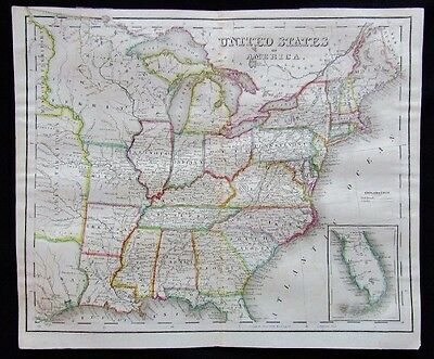 Drayton's United States of America 1845 Territories Hand Colored