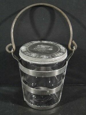 Antique Handled OLD OAKEN BUCKET Glass Jar Candy Container Tin Top & Frame