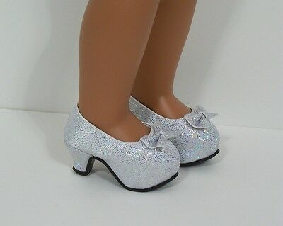 "SILVER Sparkle High Hi Heels Doll Shoes For 14"" AG Wellie Wisher Wishers (Debs)"