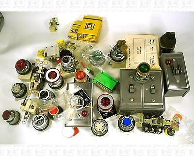 Lot Square D Industrial Control Switch and Pushbutton Parts Emergency Stop Etc
