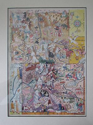 Hader's Pictorial Map Wyoming and Colorado 1932 Color Vignettes
