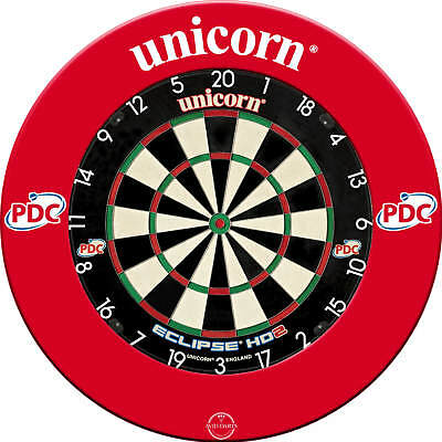 Unicorn, Eclipse HD2 Dartboard & 1 Piece Surround, Black or Red, Free Postage