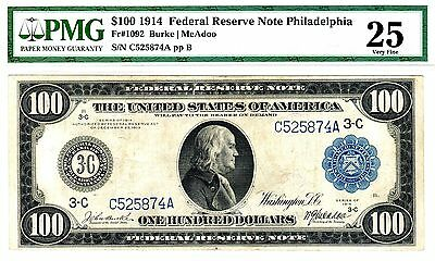 1914 $100 Federal Reserve Note, Fr. 1092, Very Fine (VF-25) Condition (PMG)