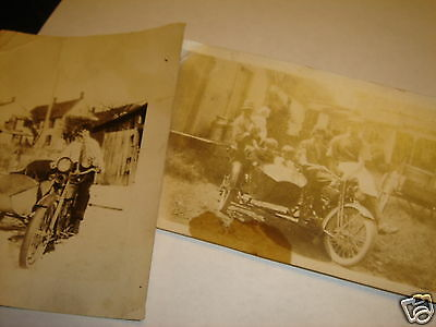 2 Vintage Snapshot Photo's Motorcycle & Sidecar Woman in Necktie Rider & Family