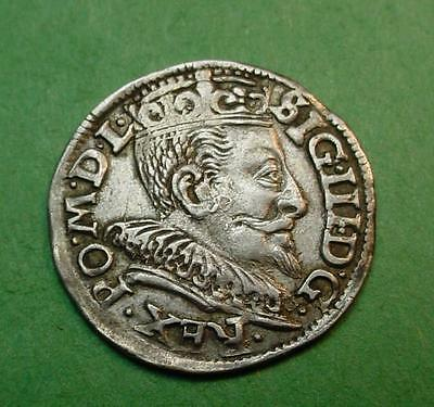 1597 Poland 3 Groszy Nice Details Reverse Doubling Silver I Think ? <>575629