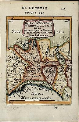 Northern Italy Piedmont Milan Genoa Switzerland 1683 Mallet old antique map