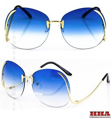 OVERSIZED Rimless Style Blue Lens SUN GLASSES butterfly Upside Down Gold Frame