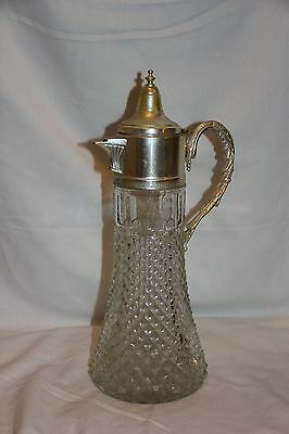 "Vintage Crystal Diamond Cut Silverplate 14.5"" Decanter Pitcher Carafe"
