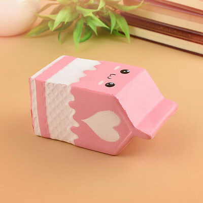 Squishy Milk Carton Soft Stress Reliever Bread Kids Toy Phone Straps Slow Rising